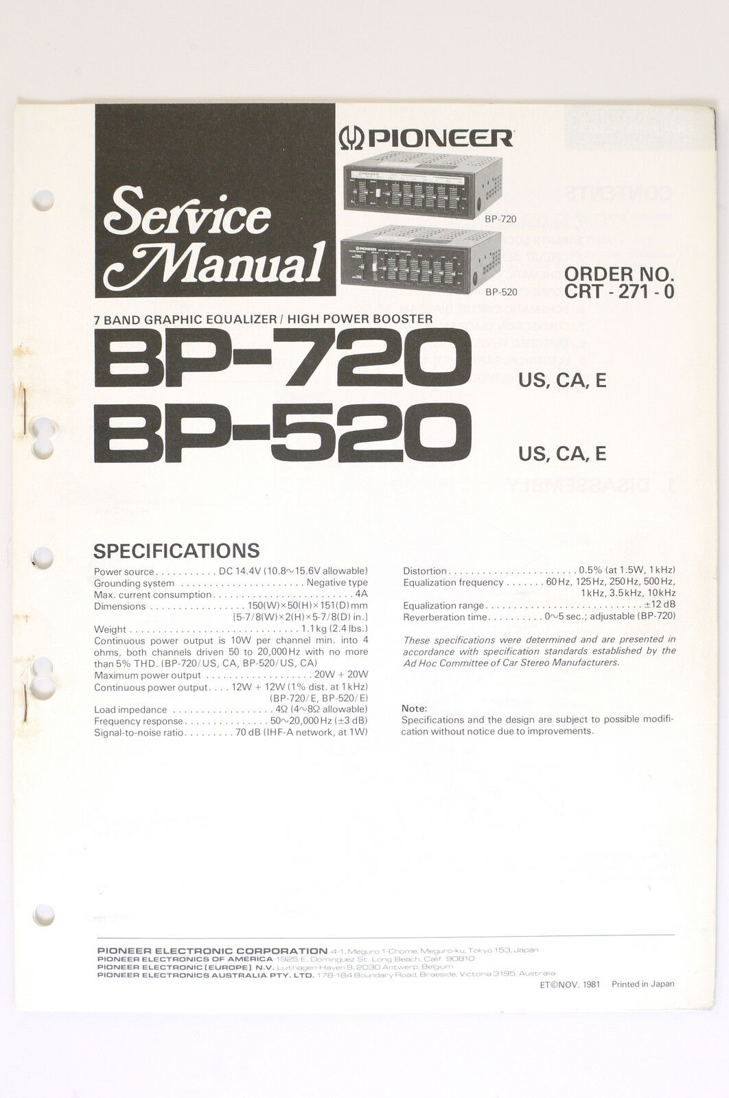 Pioneer bp 720bp 520 original service manualservice manualwiring 1 of 1only 1 available cheapraybanclubmaster Images