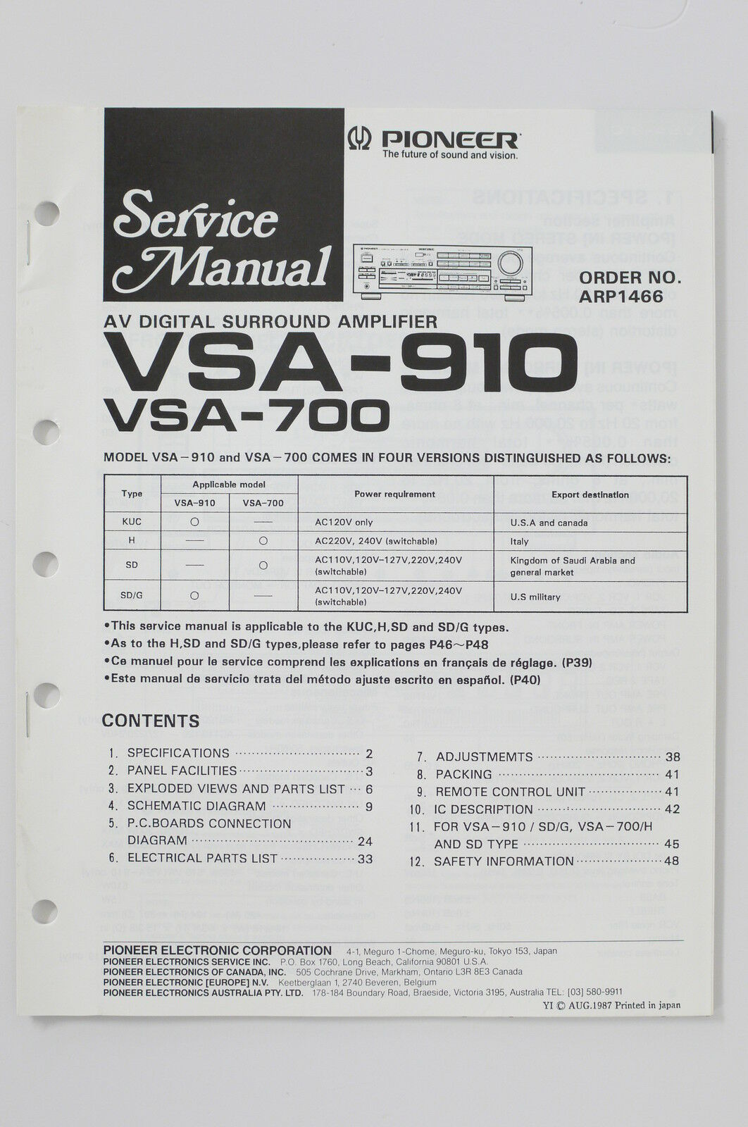 Pioneer Vsa 910 700 Av Surround Amplifier Original Service Manual Wiring Diagrams 1 Of 1only Available