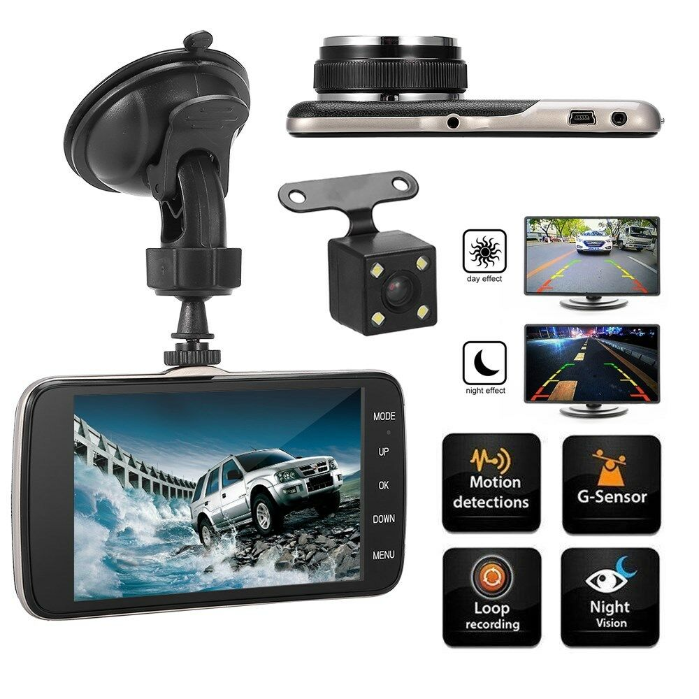 4 dual lens hd 1080p dash cams auto dvr kamera recorder. Black Bedroom Furniture Sets. Home Design Ideas