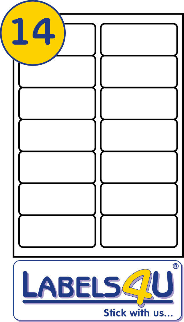 25 SHEETS OF 14 Labels Per Sheet Size 99.1x38.1mm Template Codes ...