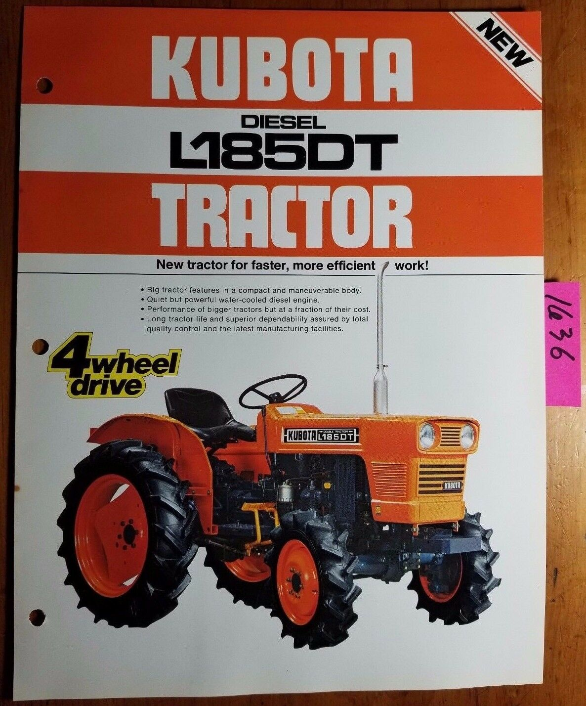 Kubota L185dt Diesel Tractor Brochure 48 882 0014c One Page 2550 Wiring Diagram 1 Of 5only Available