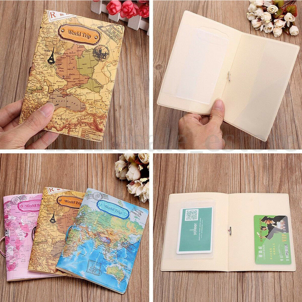 Leather world map passport holder organizer travel card case leather world map passport holder organizer travel card case document cover hot 1 of 10free shipping gumiabroncs Image collections
