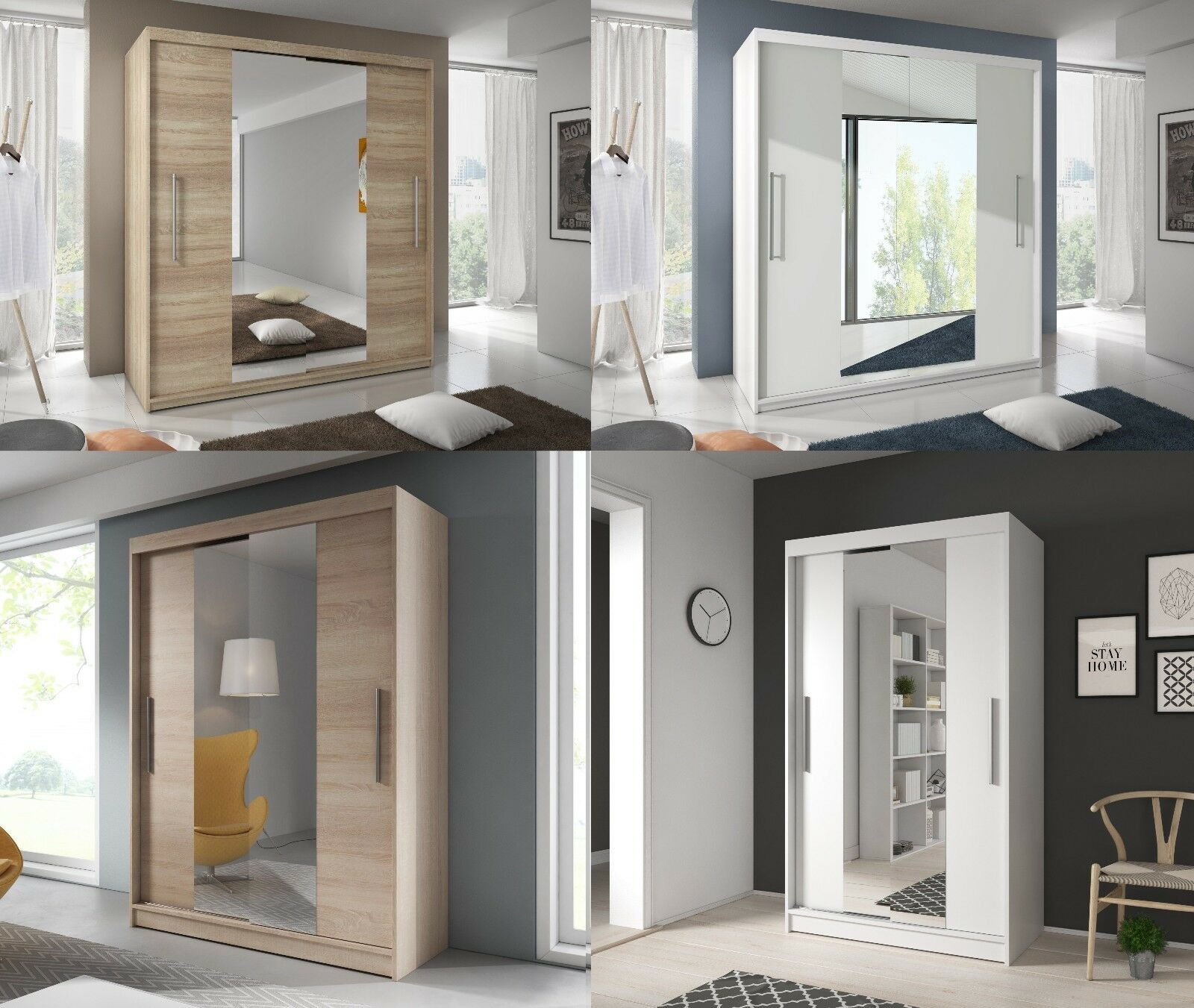 Brand New Modern Sliding Doors Wardrobes With Double Mirror 120150