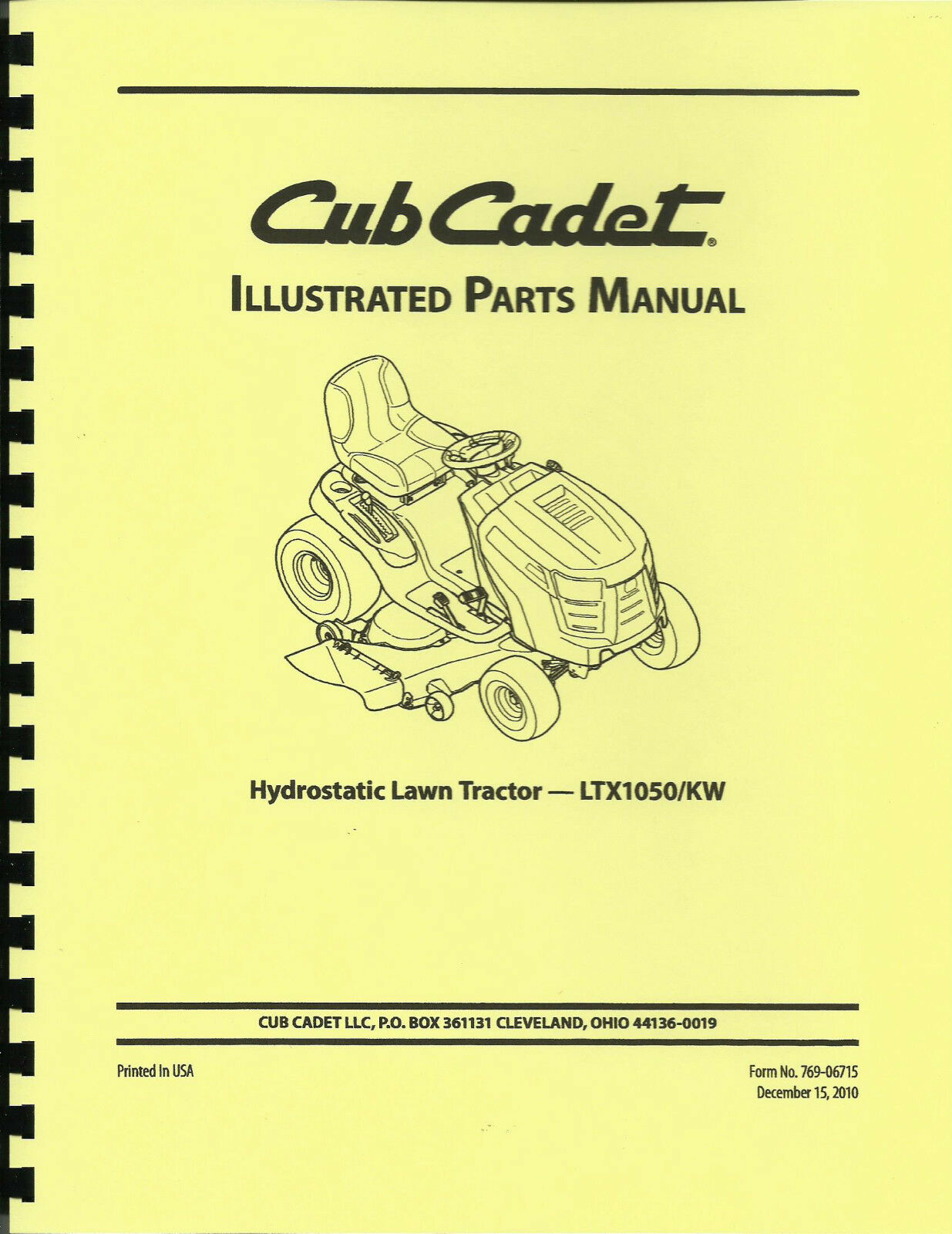 Cub Cadet LTX1050/kw Lawn Tractor Parts Manual 1 of 2Only 1 available ...