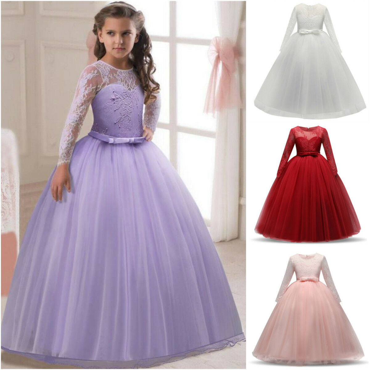 NEW LONG SLEEVE Princess Wedding Girls Dress Tulle Bridesmaid Party ...