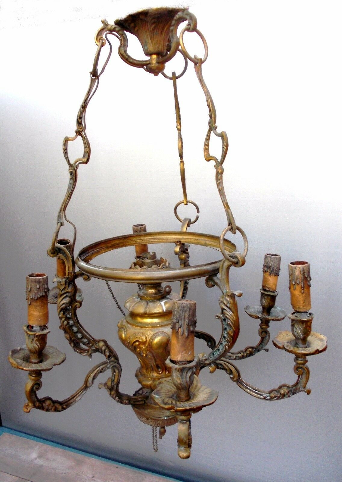 ancien lustre suspension bronze dor xix me eur 41 99 picclick fr. Black Bedroom Furniture Sets. Home Design Ideas