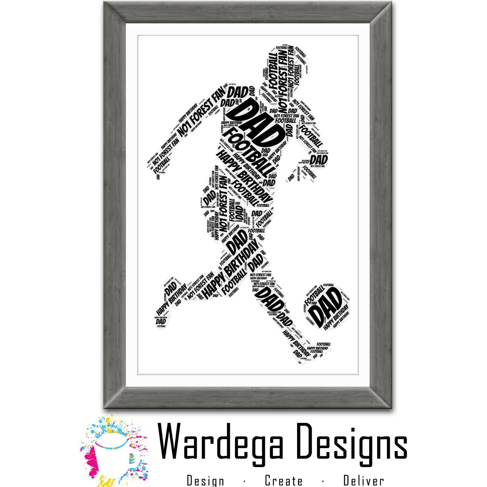 PERSONALISED FOOTBALL WORD Art Print Gift Picture Dad Son Present ...