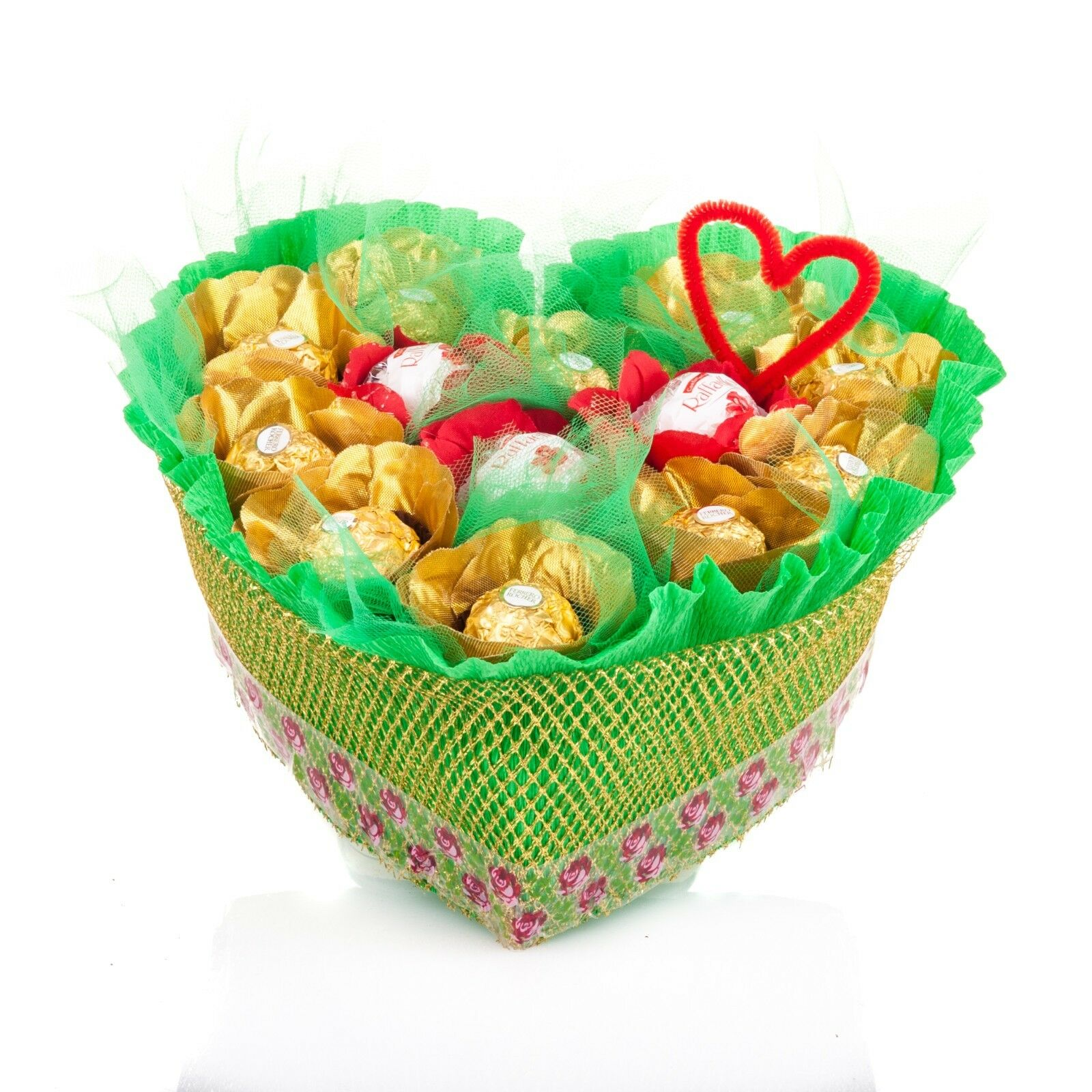 Chocolate bouquet heart gift gold roses ferrero rocherraffaelo chocolate bouquet heart gift gold roses ferrero rocherraffaelo izmirmasajfo
