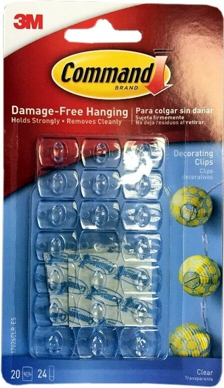 3M Command Self-Adhesive Damage Free Hanging Clear Decorating Clips ...