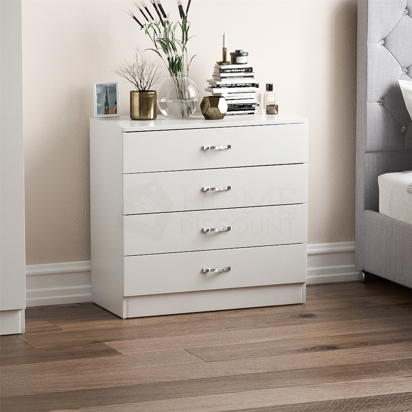 RIANO CHEST OF Drawers White 4 Drawer Metal Handles