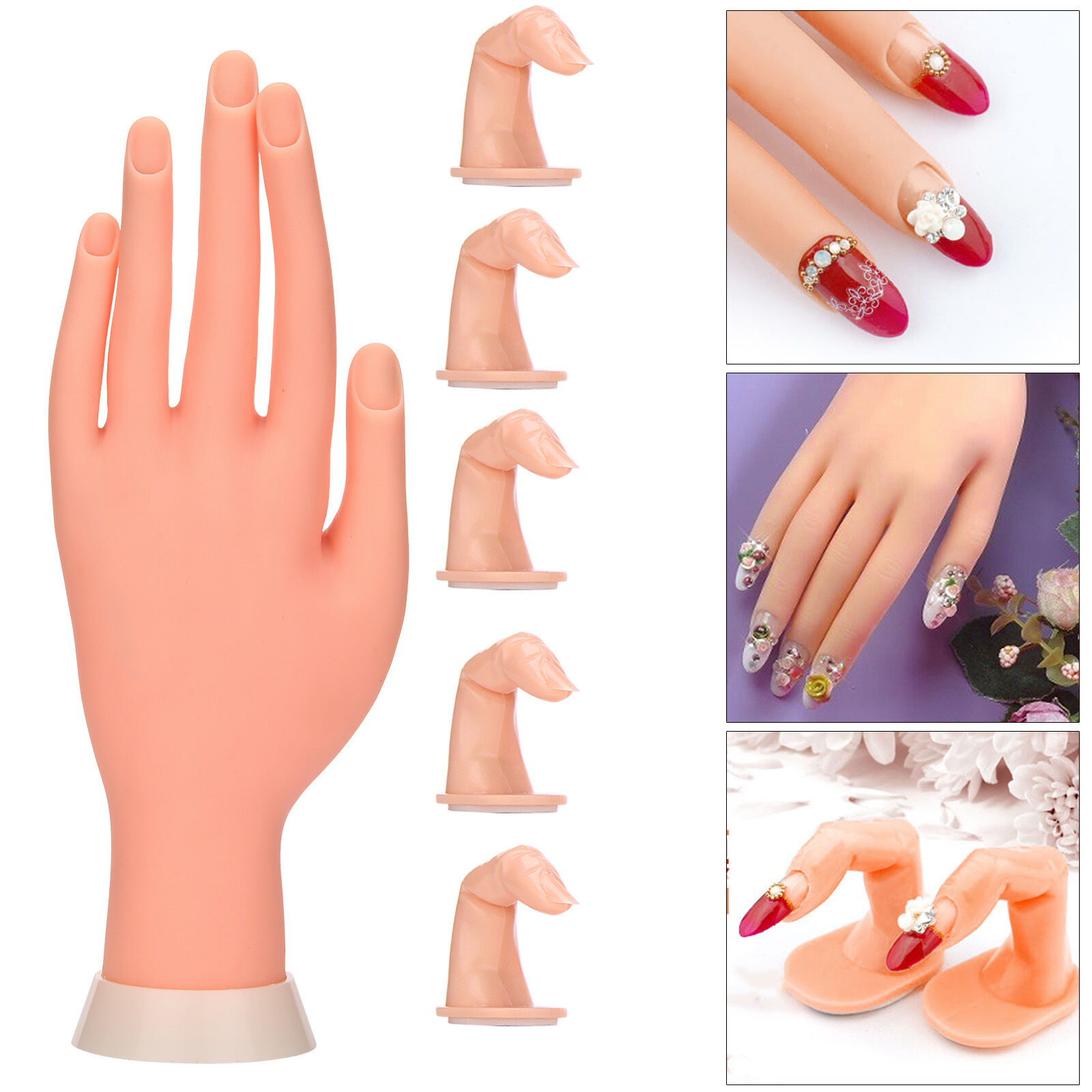 Practice Nail Art Silicone Trainer Manicure Training Hand Tool 5