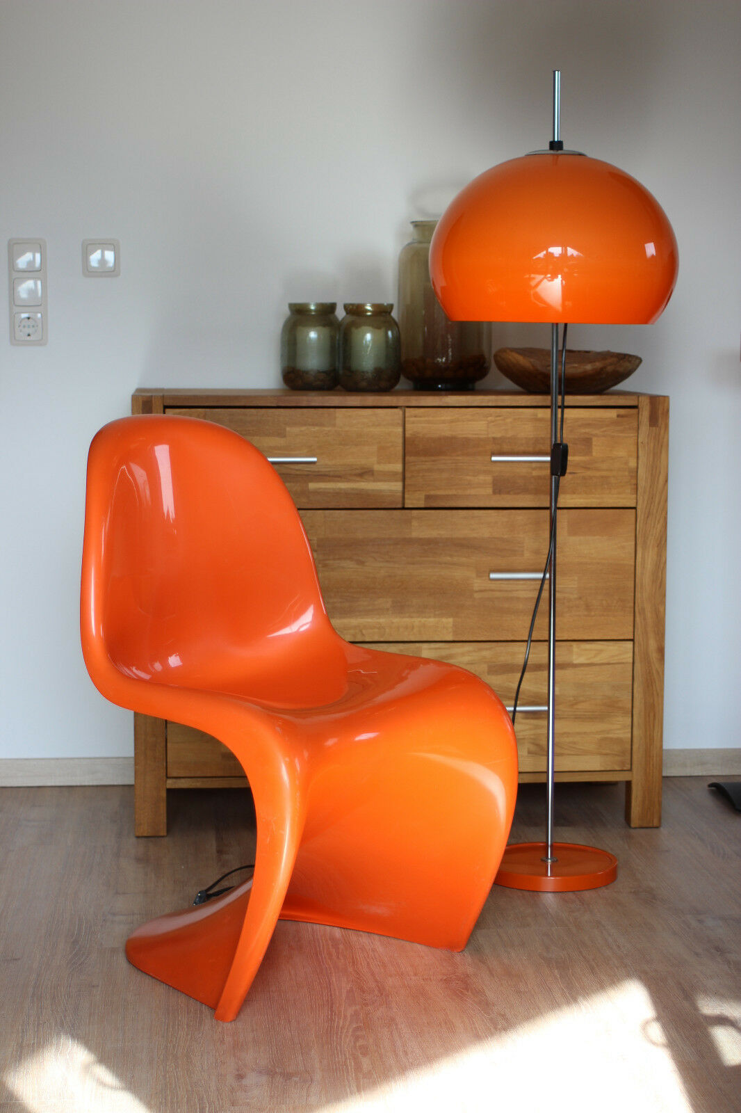 pilzlampe 70er orange vintage retro stehleuchte lampe. Black Bedroom Furniture Sets. Home Design Ideas
