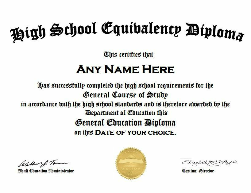 Customized High School Graduation Ged Diploma Fake Looks Like The