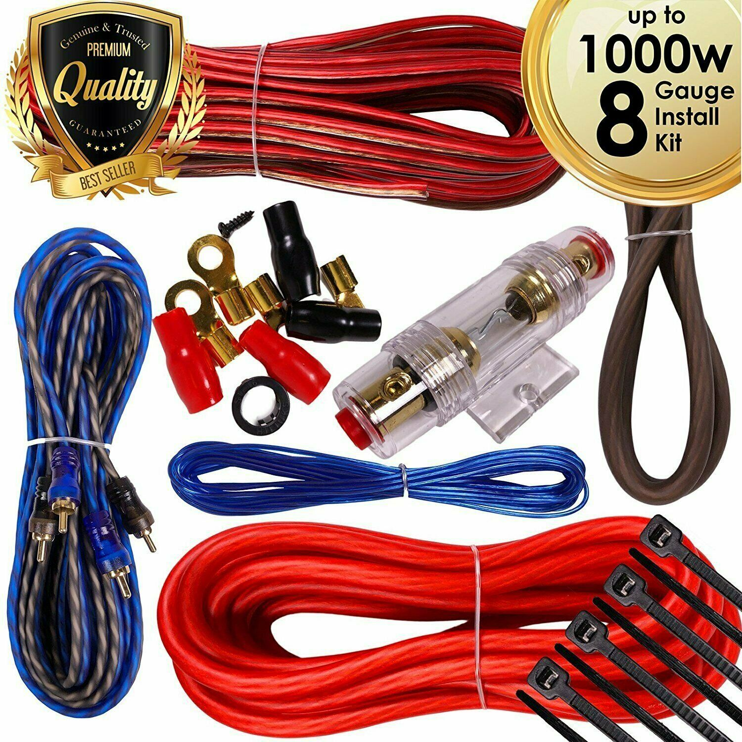 Complete 1000w 8 Gauge Car Amplifier Installation Wiring Kit Amp Pk1 How To Install A Ga Red 1 Of 9free Shipping See More