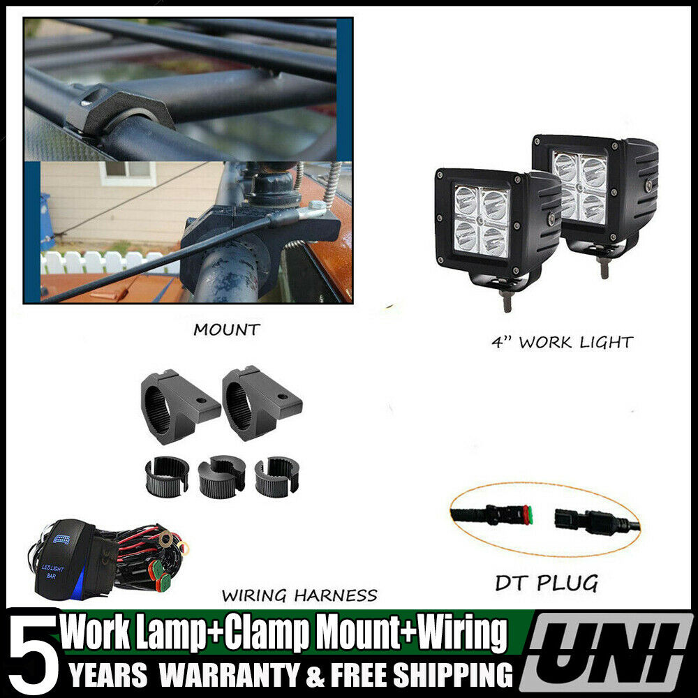 Tow Trailer Hitch Mount Bracket 2pcs Dual Led Light Pod Offroad Wiring Harness Backup Reverse 1 Of 12free Shipping