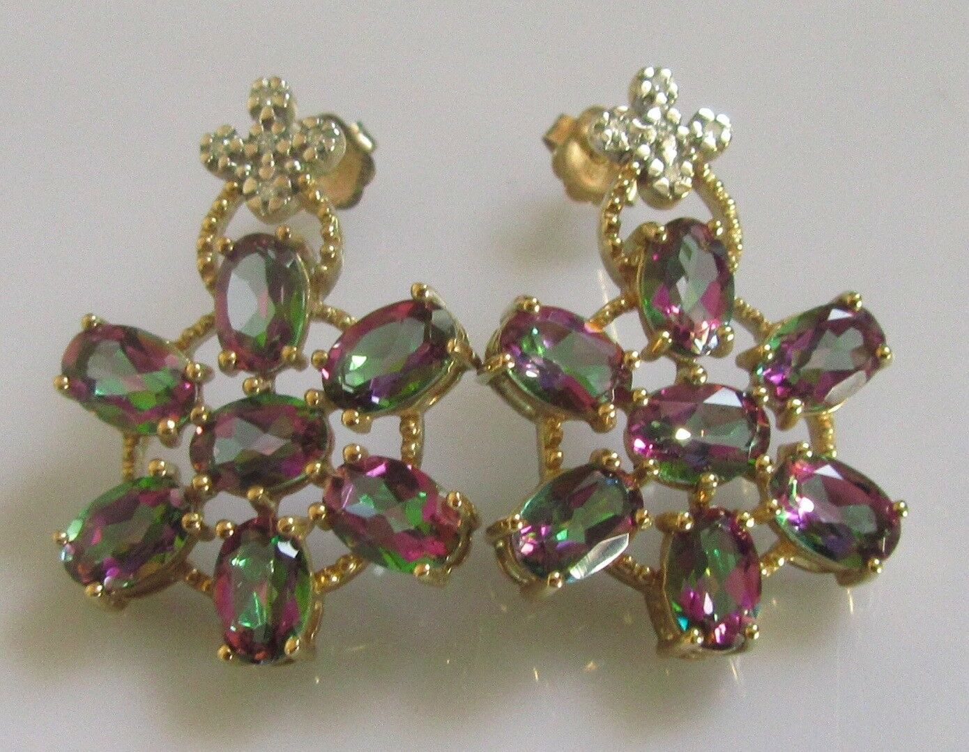 Secondhand 9ct Gold Oval Mystic Topaz Multi Diamond Star Cer Stud Earrings 1 Of 9only Available