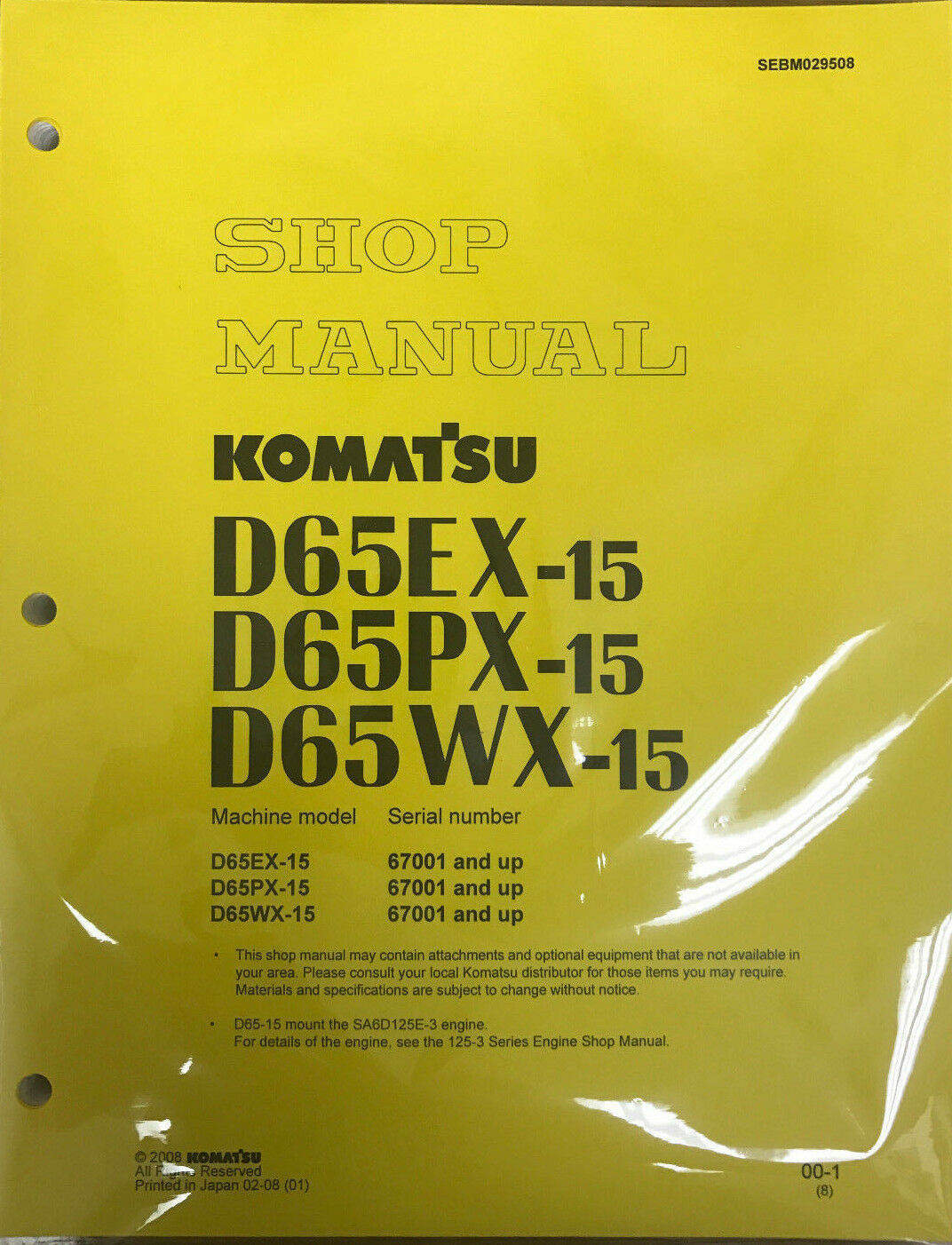 Komatsu D65EX-15, D65PX-15, D65WX-15 Service Repair Printed Manual 1 of  1FREE Shipping See More