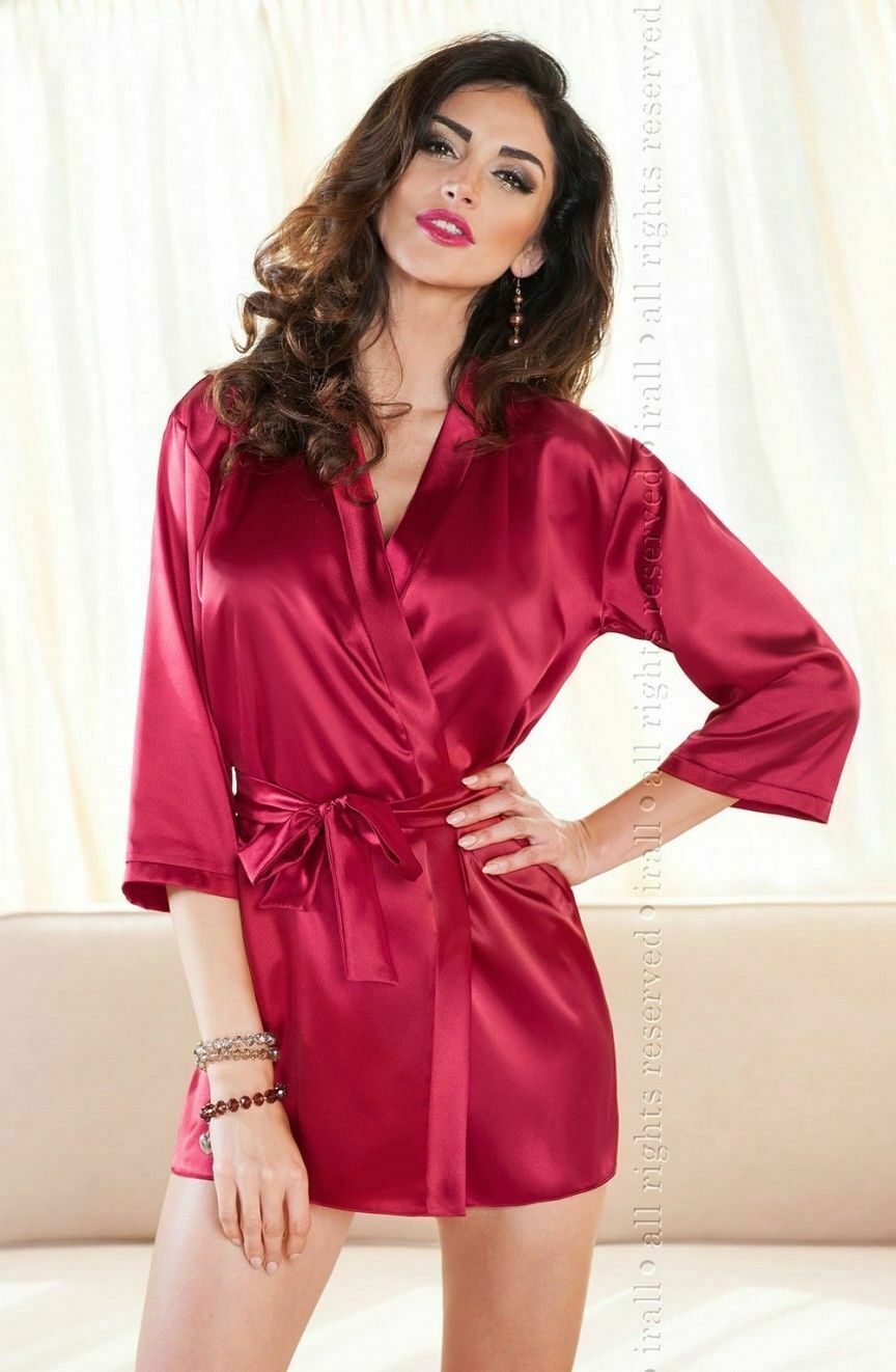 SATIN DRESSING GOWN Short Robe Irall Aria Purple Pink Black Ivory ...