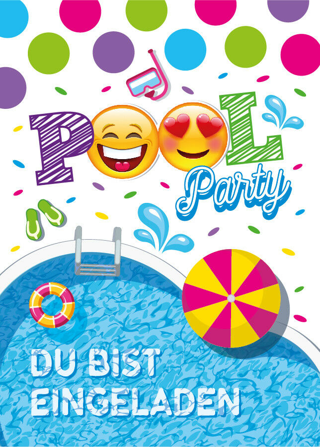 einladungskarten einladungen kinder geburtstag schwimmbad party pool party eur 4 95. Black Bedroom Furniture Sets. Home Design Ideas