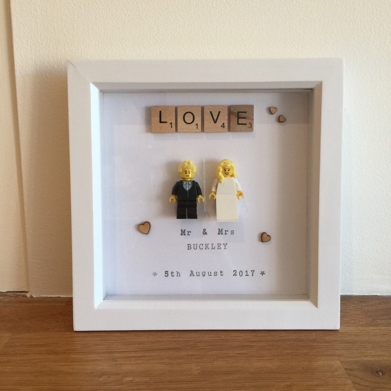 Hand Made Personalised Lego Wedding Couple In Frame Perfect