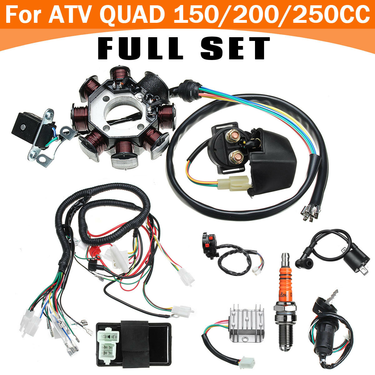 Full Electric Cdi Coil Wire Wiring Harness Stator Loom For Atv Quad 1 Of 10only 5 Available