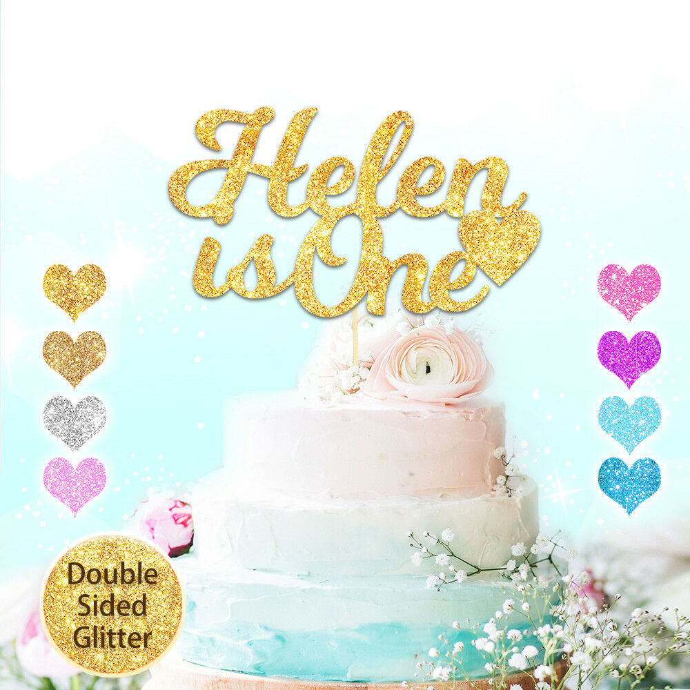 Personalised 1st Birthday Cake Topper Glitter Any Age Name Custom