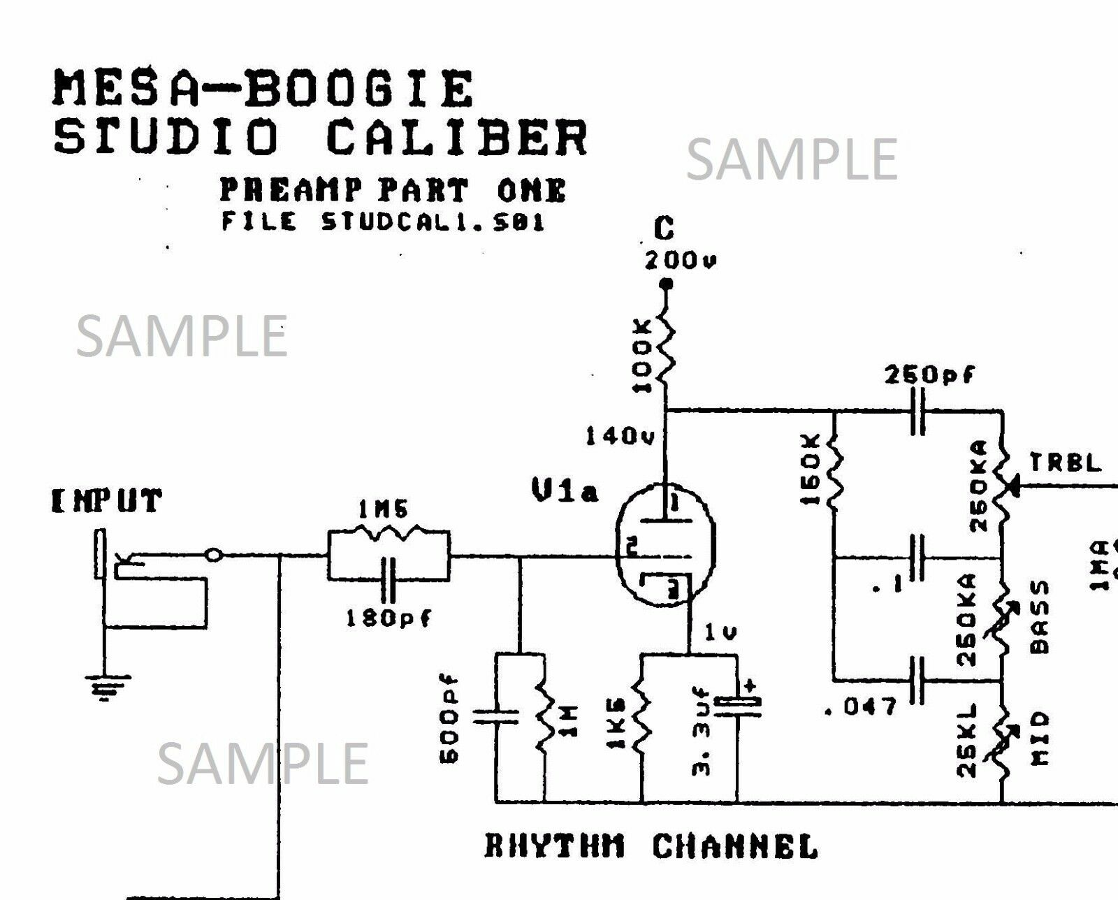 Mesa Boogie Studio Caliber Dc2 Tube Amplifier Electronic Circuit Marshall Mg Cab Wiring Diagram Schemat 1 Of 1free Shipping See More
