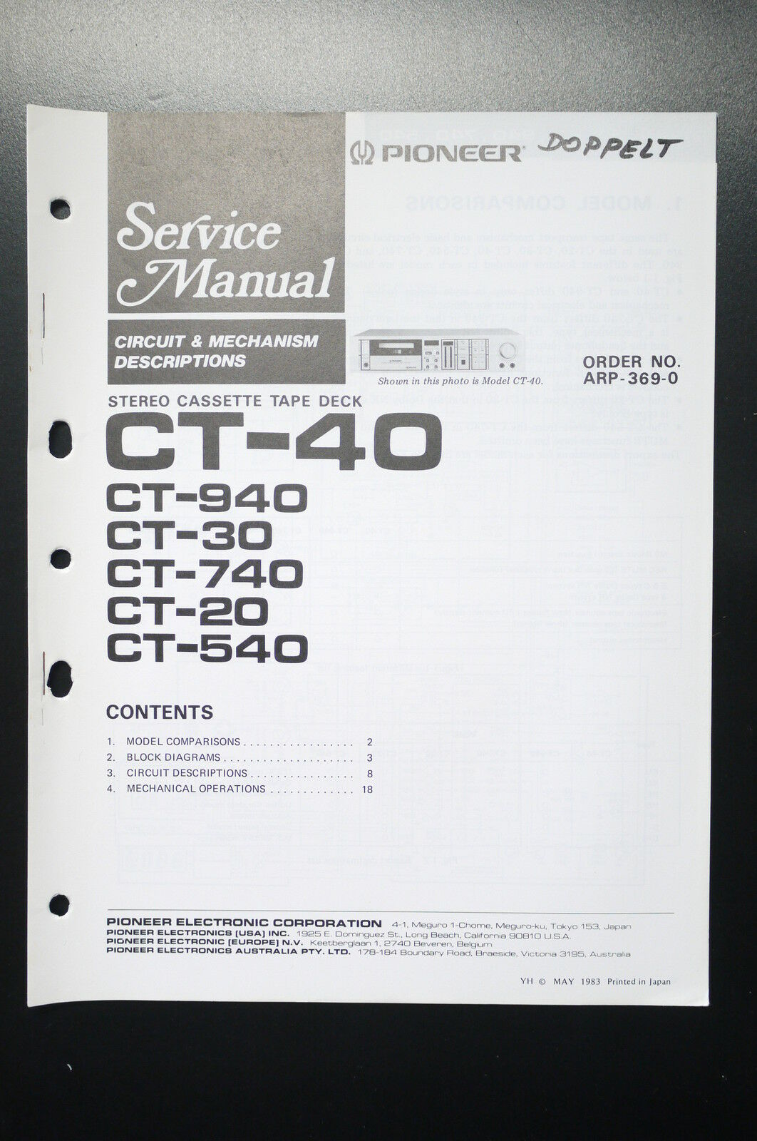 Pioneer Ct 40 940 30 740 20 540 Service Manual Guide Wiring Diagram 1 Of See More