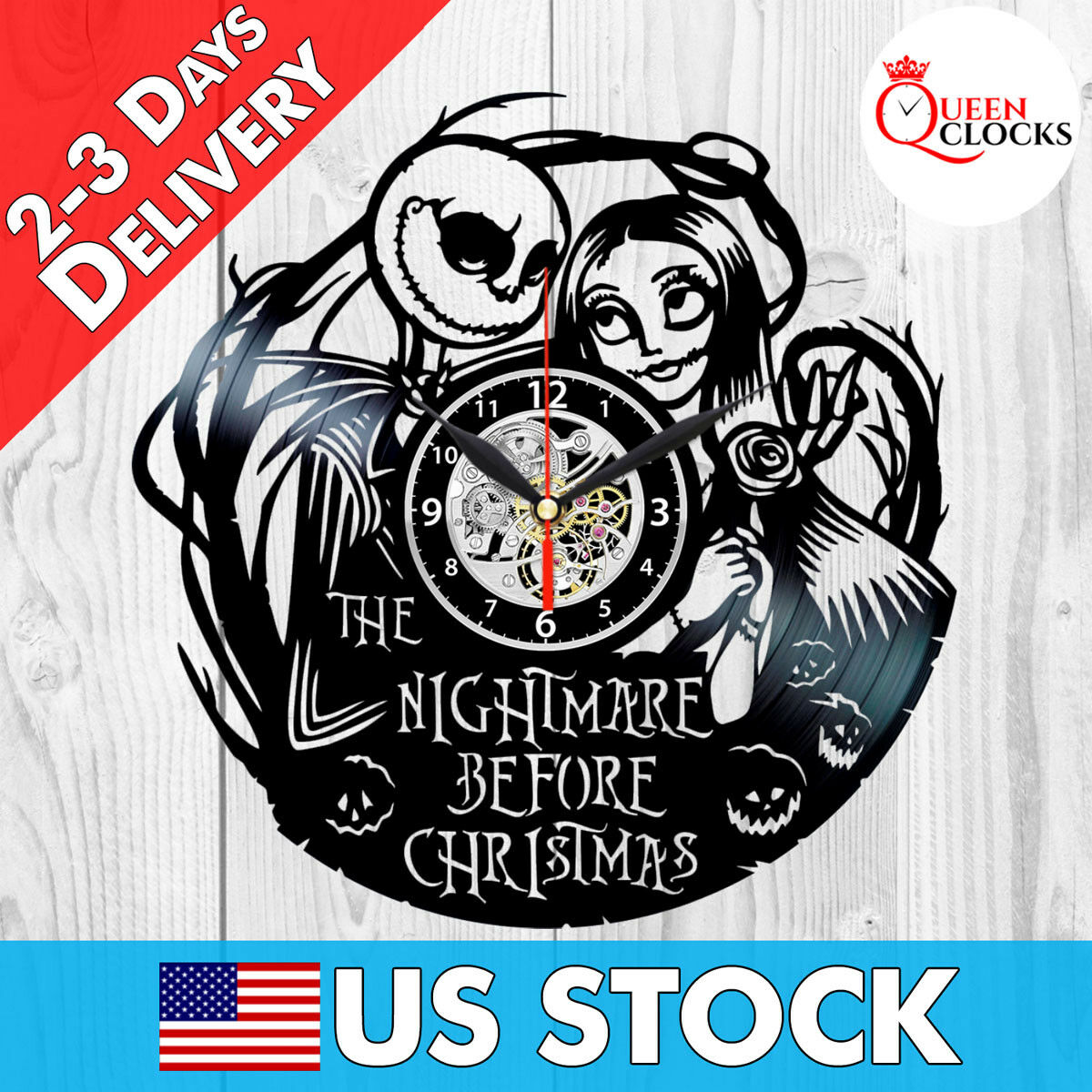 jack skellington sally nightmare before christmas vinyl record wall clock gifts 1 of 5 see more
