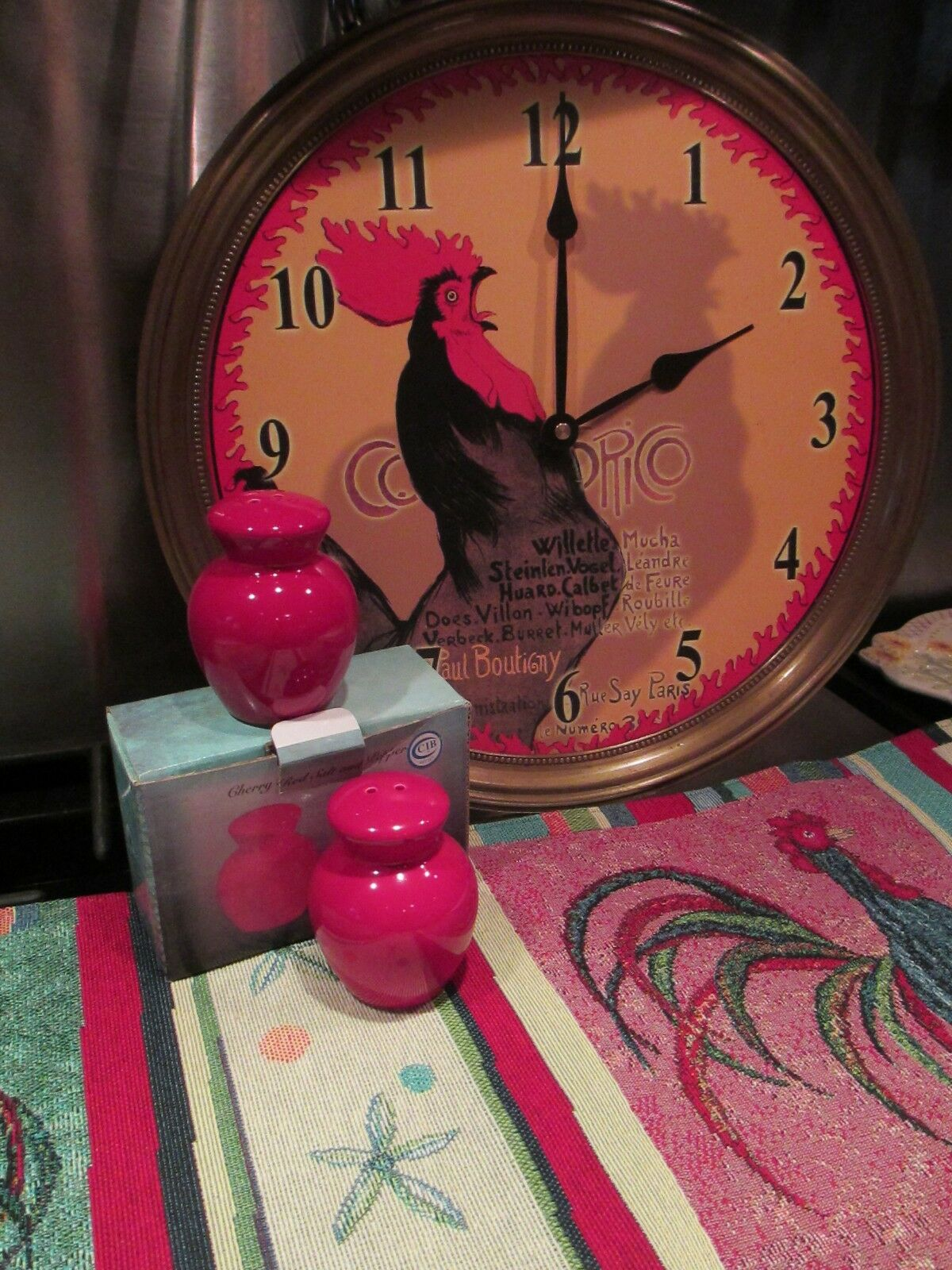Red Rooster ~ Kitchen Set~ Clock ~ Tapestry Runner U0026 Salt U0026 Pepper Shakers  1 Of 11 Red Rooster ~ Kitchen Set~ ...