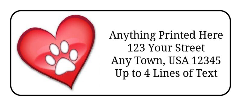 60 Red Heart With Paw Print On White GLOSSY Photo Quality Return Address Labels