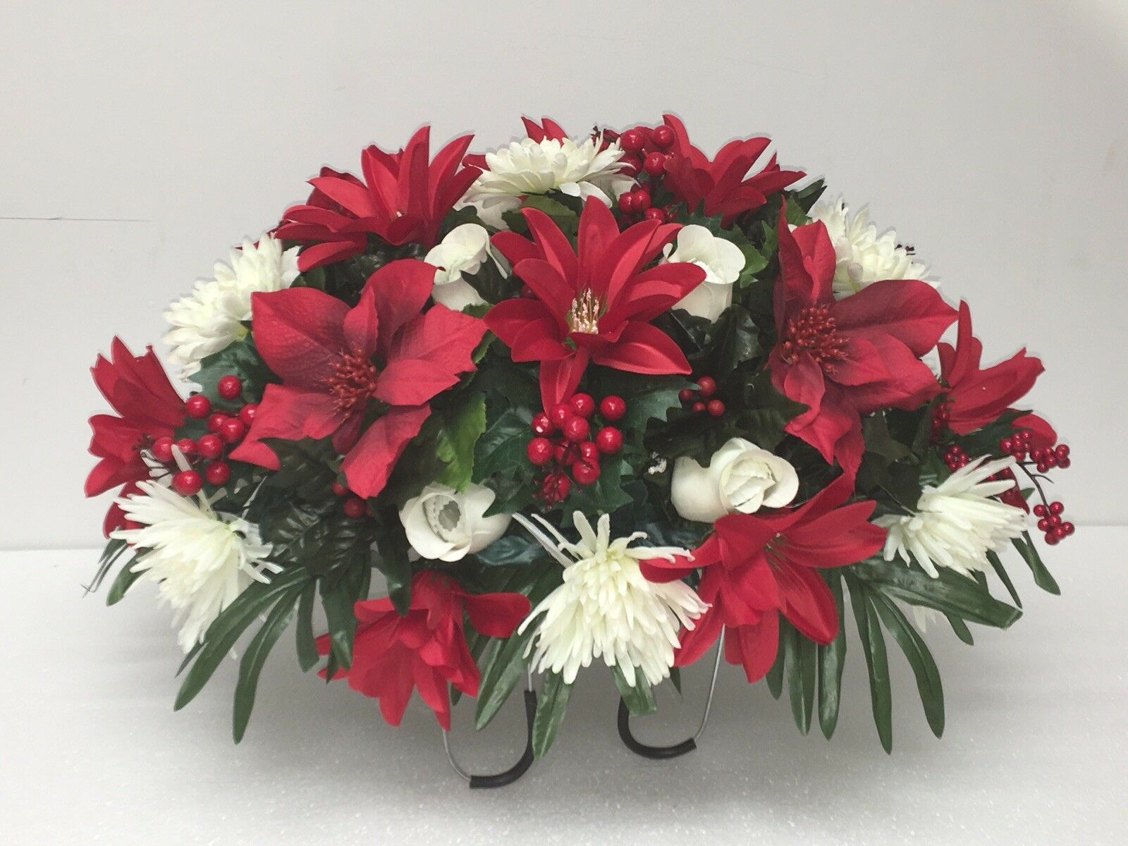 Christmas Cemetery Flowers Silk Headstone Flowers Holiday Cemetery