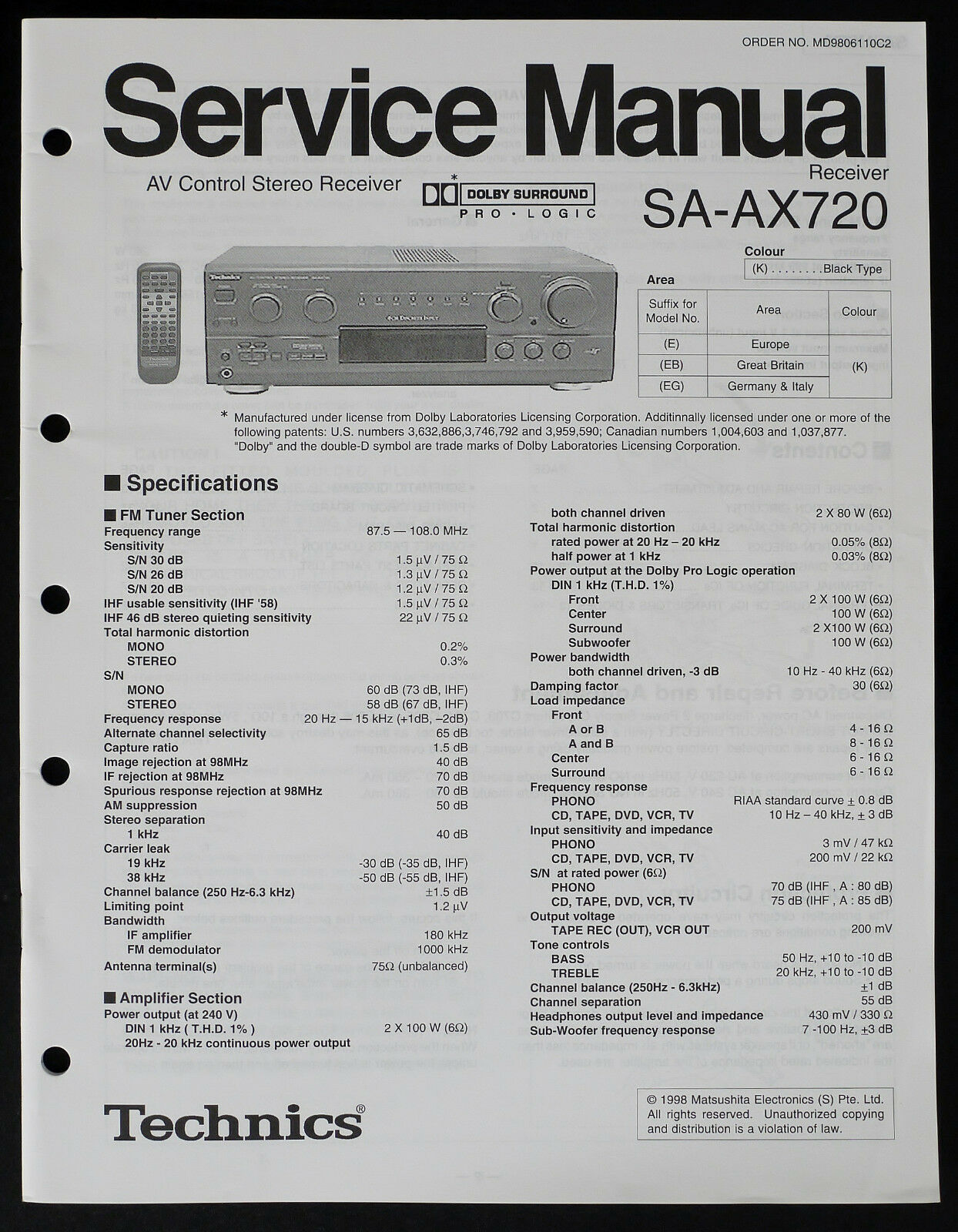 Technics Sa Ax720 Original Av Receiver Service Manual Diagram Parts Wiring 1 Of 1only Available
