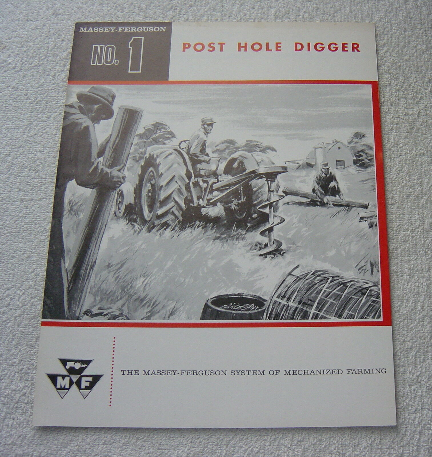 MASSEY FERGUSON TRACTOR MF1 POST HOLE DIGGER c 1961 SALES BROCHURE 1 of  1Only 1 available ...