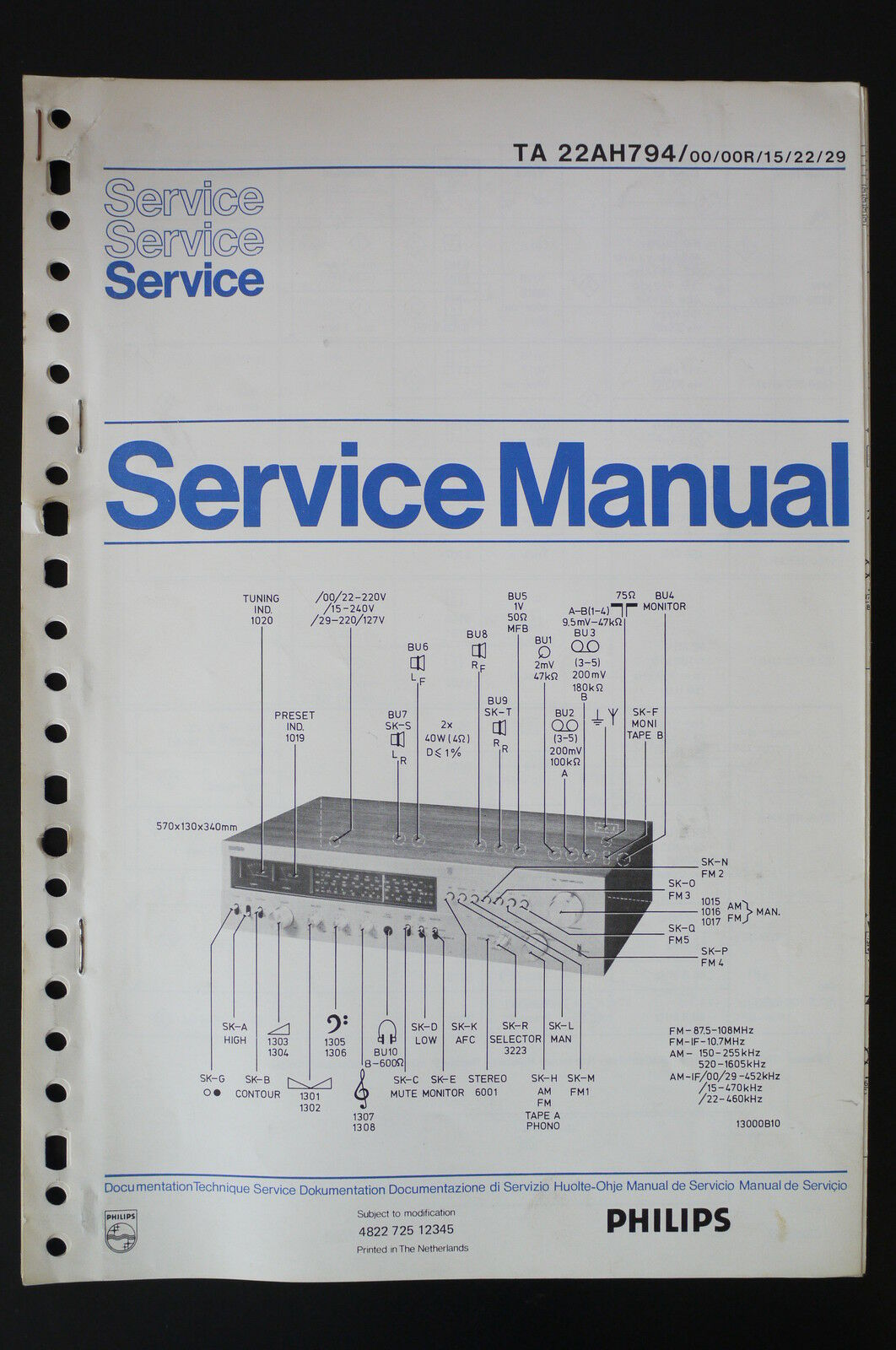 Philips Ta 22ah794 Amplifier Original Service Manual Wiring A Diagram 1 Of See More