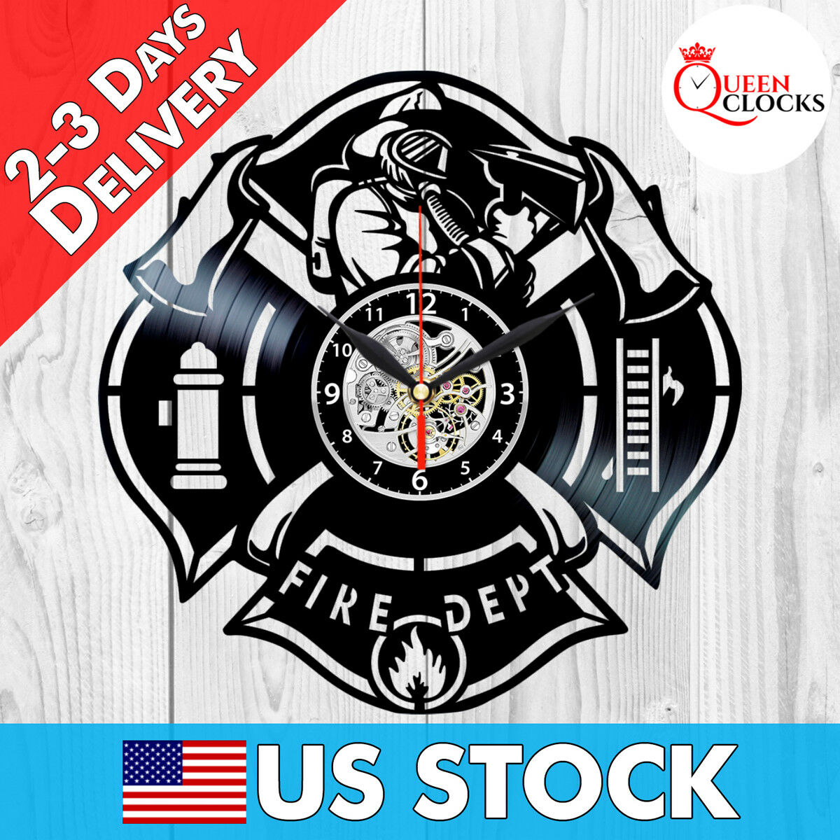FIRE DEPARTMENT CLOCK Vinyl Firefighting Decor Firefighter Gifts for ...