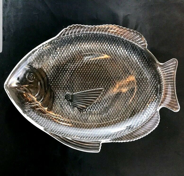 Fish Shaped Seafood Serving Platter Vintage Clear Gl Dish Oven Proof X Large 1 Of 7 See More