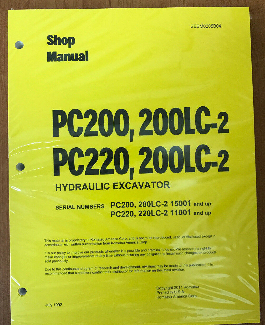 Komatsu Service PC200/PC200LC-2/PC220/LC-2 Manual 1 of 1Only 1 available ...