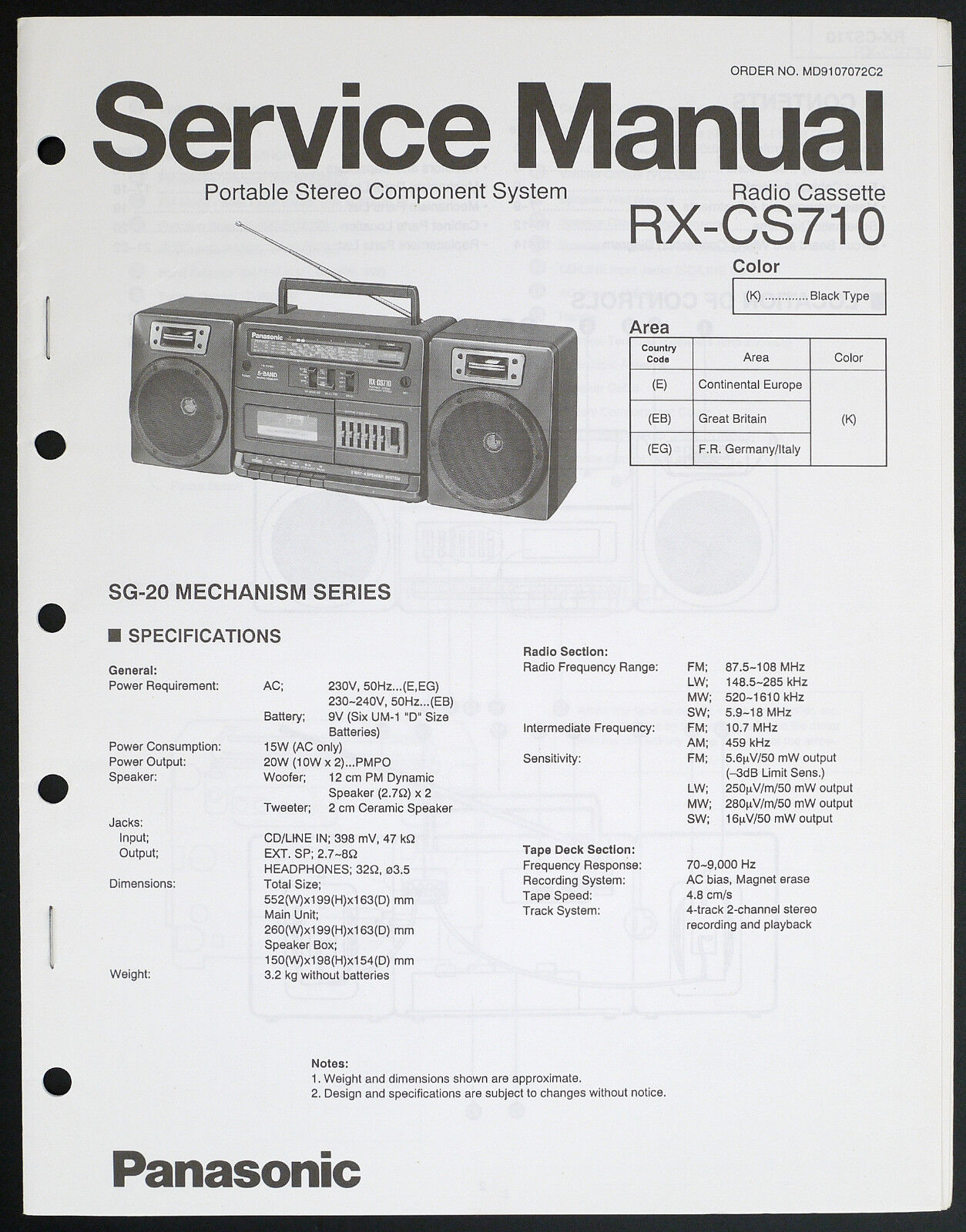 Panasonic RX-CS710 Original Stereo Component System Service Manual/Diagram  o191 1 of 1Only 1 available ...
