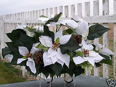Christmas Cemetery Grave Flowers White Poinsettias Holiday Sympathy Florist