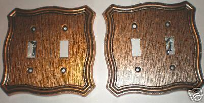2 Solid Metal Copper Color Wood grain style,  2 Toggle Switch Plate outlet Cover