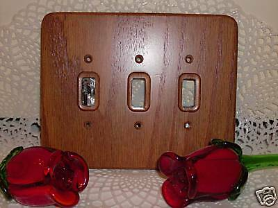 3 Toggle Dark Oak Stained Wood Light Switch Plate Cover New
