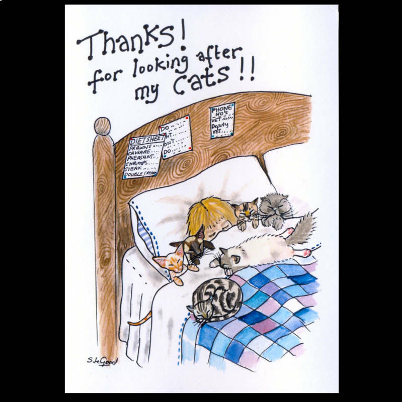 Cat Card Thanks for Looking After large from original painting Suzanne Le Good