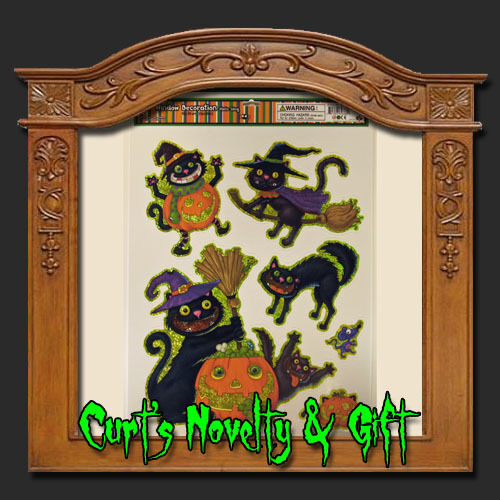 window cling sparkling cats mix halloween haunted prop 1 of 1 see more