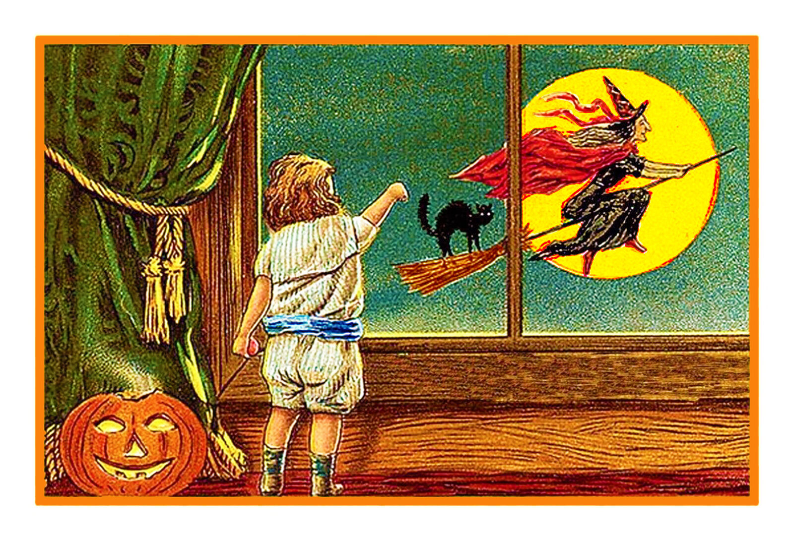 victorian halloween #8 witch moon boy cat counted cross stitch