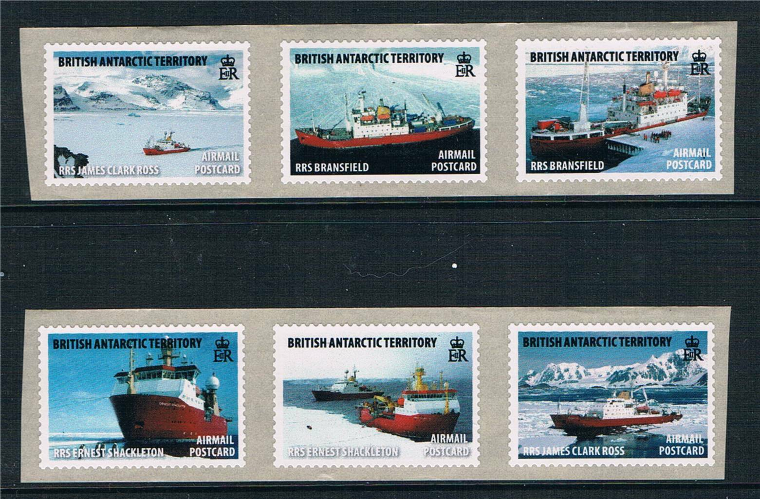 British Antarctic 2011 Royal Research Ships COIL STAMPS S/Adh 6v MNH