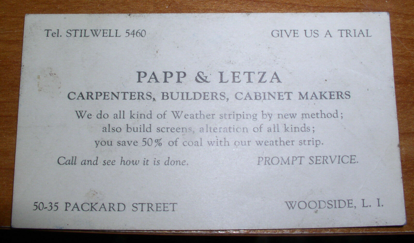 1950s business card papp letza italian carpenters woodside queens 1950s business card papp letza italian carpenters woodside queens new york ny 1 of 3only 1 available reheart Images
