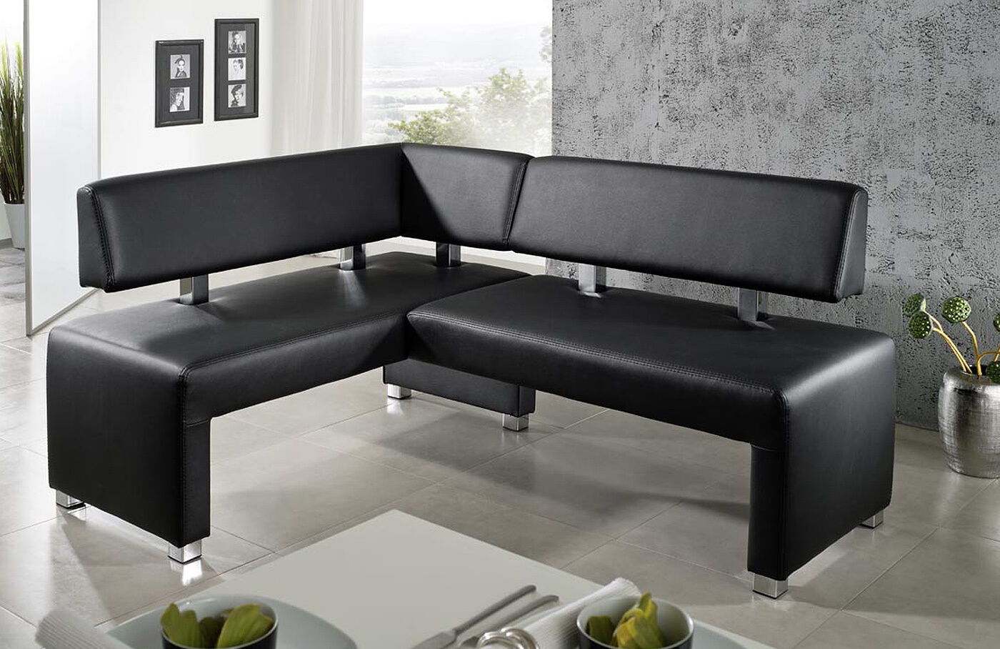 eckbankgruppe in kunstleder oder leder sitzb nke hocker. Black Bedroom Furniture Sets. Home Design Ideas