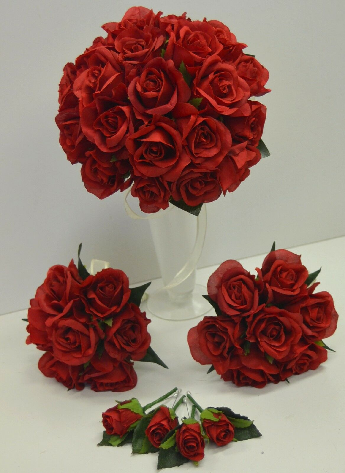 Silk wedding bouquet bridal red rose artificial flowers