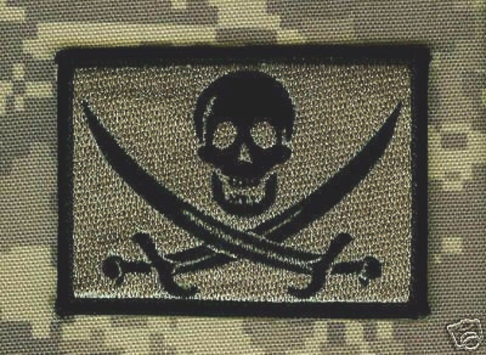 AFSOC COMBAT CONTROL DEATH on CALL SHOULDER VELCRO PATCH: CALICO JACK SKULL ACU